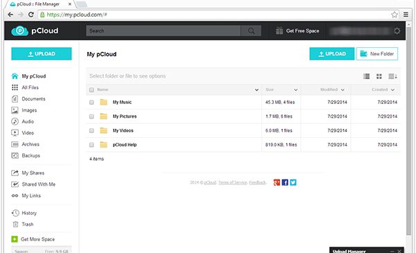 pcloud-web-interface